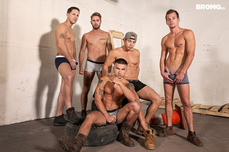 Vadim Black, Wesley Woods, Roman Todd, John Delta and Leon Lewis hot gay fucking orgy