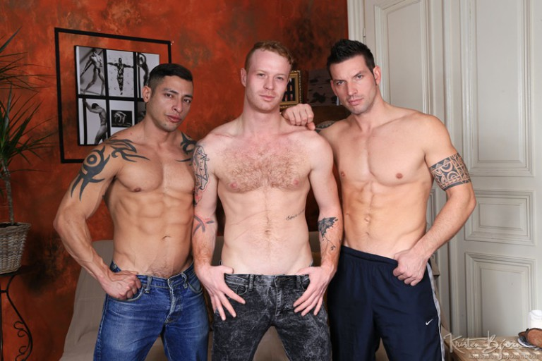 Sexy tattooed big muscle dudes Julio Rey, Rado Zuska and Tom Vojak hardcore bare fuck