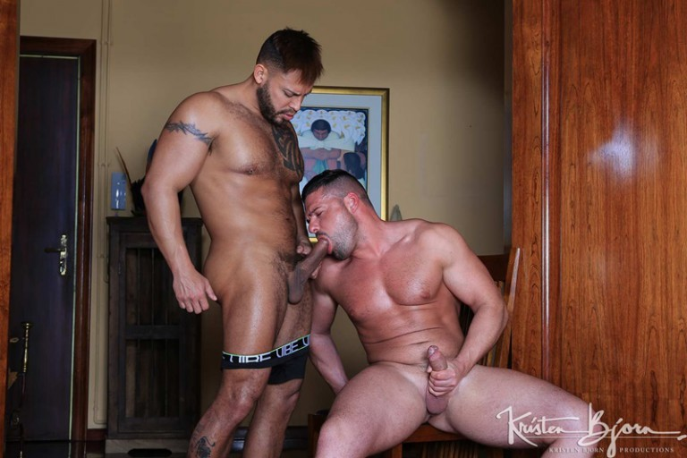 Viktor Rom takes Gabriel Lunna's cum slicked cock into his mouth savouring his partners wild seed