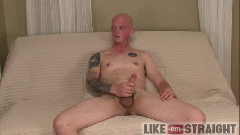 Brendon lubes and strokes straight dude Ted's beautiful straight cock to orgasm