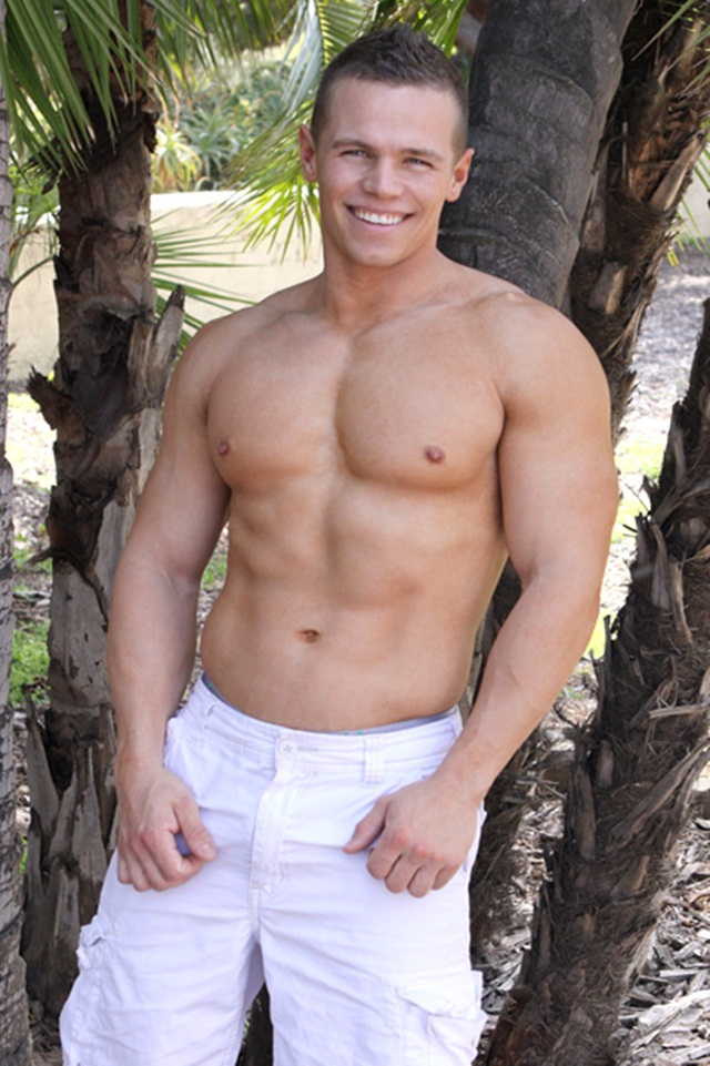 Baby face Blaine with giant biceps at Sean Cody