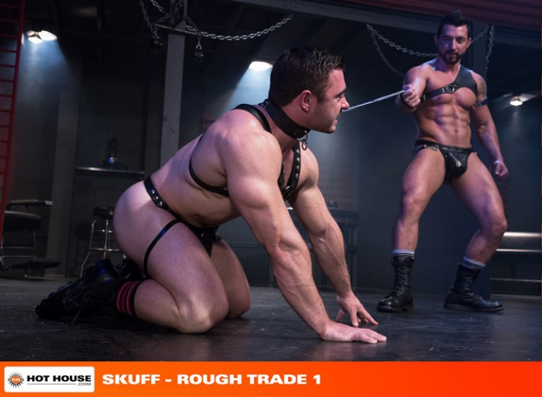 Leather muscle hunk Jimmy Durano fucks doggie boy sub Derek Bolt in the sling