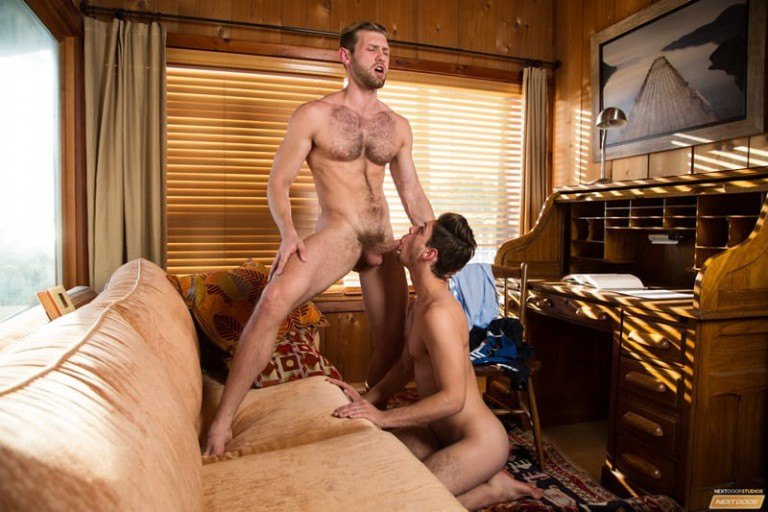 Jacob Peterson bends over the sofa for Michael Del Ray to eat his ass rimming his deep and hard