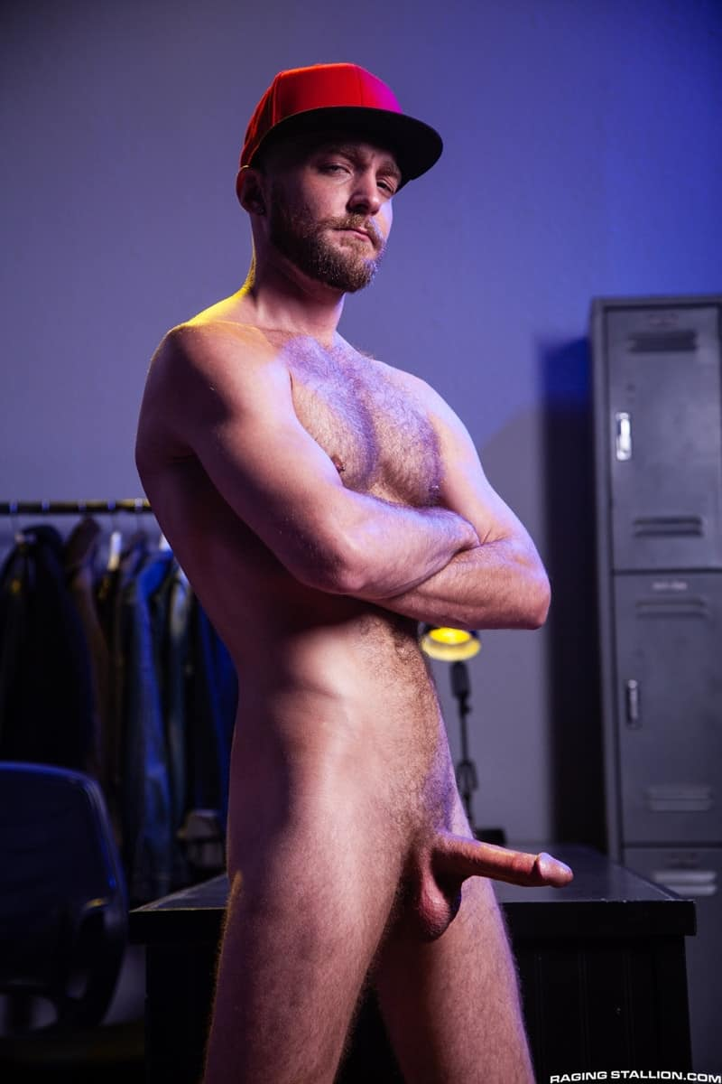 Men for Men Blog Devin-Totter-James-Stevens-bearded-facial-hair-thick-big-dick-sucking-rimming-ass-RagingStallion-006-gay-porn-pictures-gallery Devin Totter bounces up and down on James Stevens' thick pole until his ass is wide open Raging Stallion