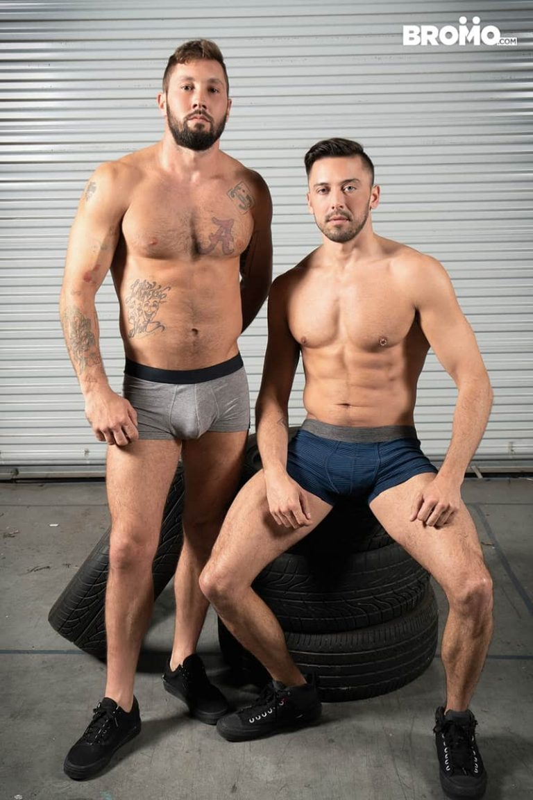 Shane Jackson drops to his knees and greedily swallows Jeff Powers' huge hard cock