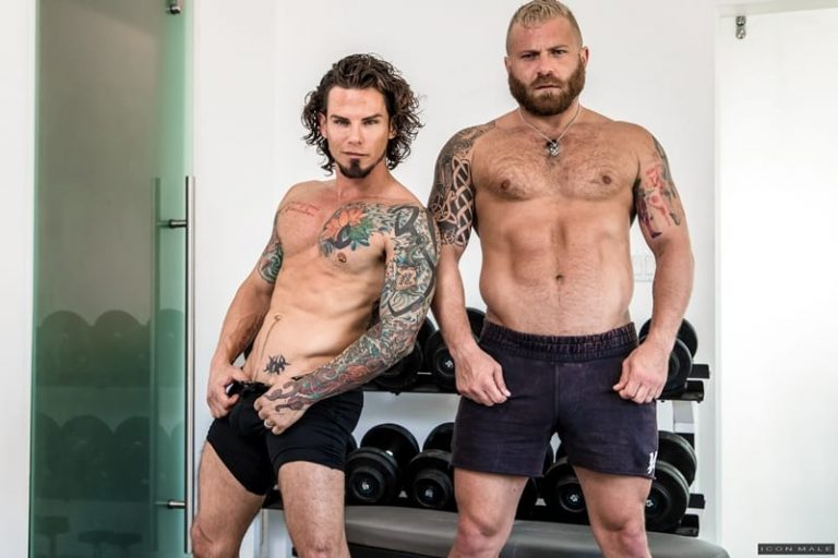 Tattooed young stud Archer Croft's hot ass fucked hard by older muscle guy Riley Mitchell's huge cock