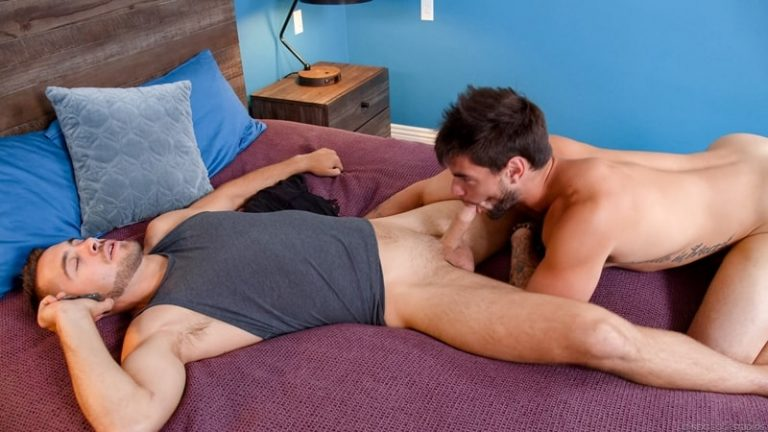 Hairy chested muscle hunk Aspen and sexy young stud Dante Colle flip flop ass fucking