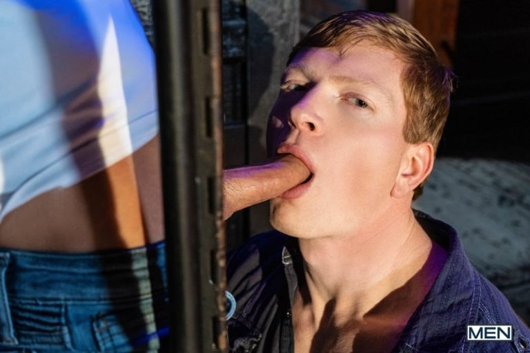 Hot muscle redhead Kyle Connors backs his tight hole onto Nic Sahara's huge erect dick